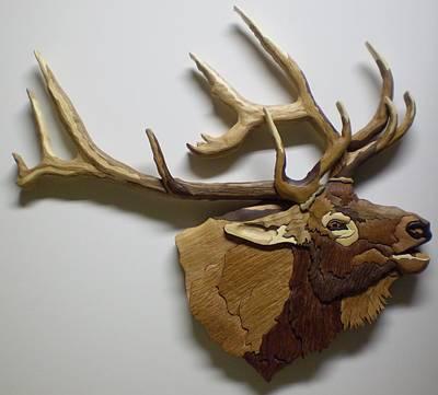 Intarsia Sculpture - Elk by Annja Starrett