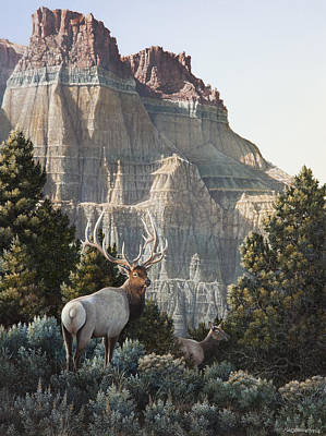 Sagebrush Painting - Elk At Cathedral Rock by Mike Stinnett