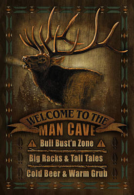 Elk Man Cave Sign Print by JQ Licensing