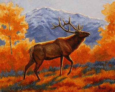 Elk Painting - Autumn Glow Original by Crista Forest