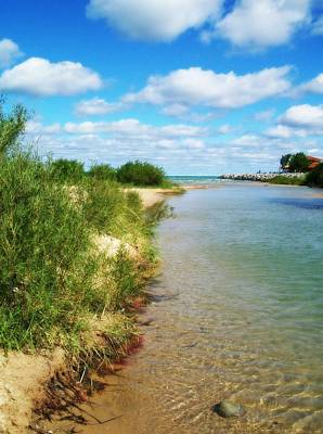 Elk Rapids Photograph - Elk River With Fluffy Clouds by Michelle Calkins
