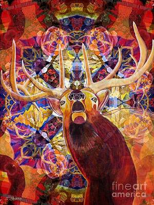 Visionary Painting - Elk Spirits In The Garden by Joseph J Stevens