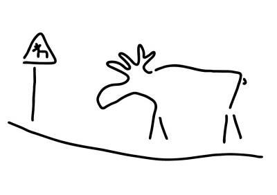 Sweden Drawing - elk Sweden Norway warning by Lineamentum