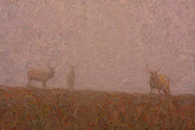 Fauna Painting - Elks In The Fog by Celestial Images
