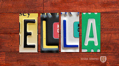 Ella Mixed Media - Ella License Plate Name Sign Fun Kid Room Decor. by Design Turnpike