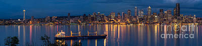 Elliott Bay Seattle Skyline Night Reflections  Print by Mike Reid
