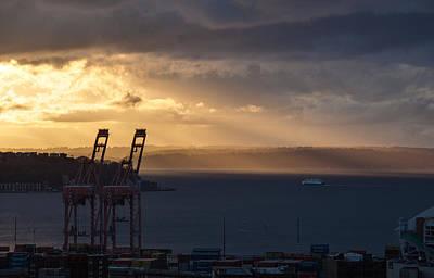 Seattle Skyline Photograph - Elliott Bay Sunrays by Mike Reid