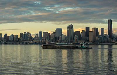 Seattle Skyline Photograph - Elliott Bay Working by Mike Reid