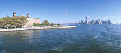 Ellis Island Photograph - Ellis Island, Manhattan Skyline, New by Panoramic Images