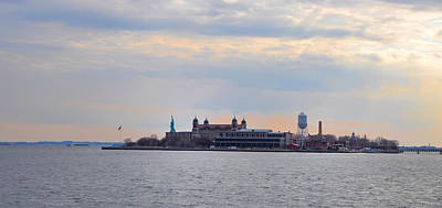Ellis Island With The Statue Of Liberty Print by Bill Cannon