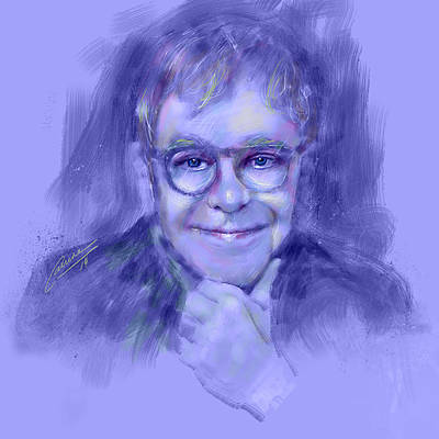 Elton John Digital Art - Elton John by Carrene Sink