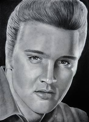 Elvis Drawing - Elvis 56 by Brian Broadway