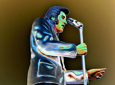 King Of Pop Photograph - Elvis Aaron Presley Statue Profile Solarized Usa by Sally Rockefeller