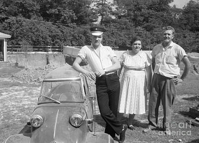Elvis Presley Photograph - Elvis And His Messerschmitt With Vernon And Gladys Presley 1956 by The Phillip Harrington Collection