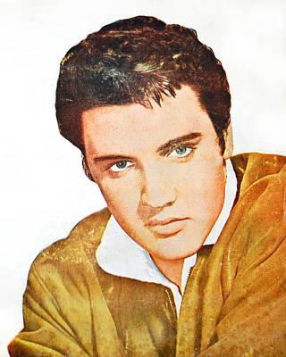 Elvis Presley Digital Art - Elvis Colored Portrait by Gina Dsgn