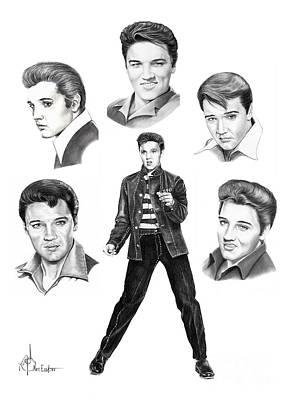 Elvis Presley Drawing - Elvis Elvis Elvis by Murphy Elliott