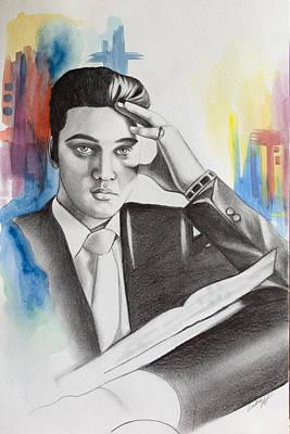 Elvis Presley Drawing Drawing - Elvis by Lindsay Pace
