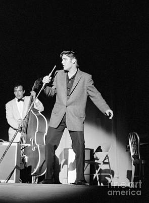 On-stage Photograph - Elvis Presley And Bill Black 1956 by The Phillip Harrington Collection
