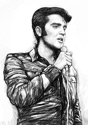 Elvis Presley Drawing - Elvis Presley Art Drawing Sketch Portrait by Kim Wang