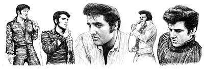 Rock And Roll Art Drawing - Elvis Presley Art Long Drawing Sketch Portrait by Kim Wang