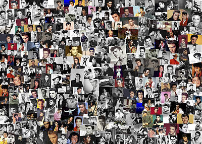 Elvis Presley Collage Print by Chris Smith