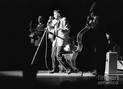 Elvis Presley On Stage With Scotty Moore And Bill Black 1956 Print by The Phillip Harrington Collection