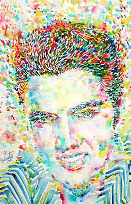 Elvis Presley Painting - Elvis Presley Watercolor Portrait.1 by Fabrizio Cassetta