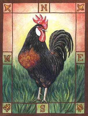 Rooster Painting - Elvis The Rooster by Linda Mears