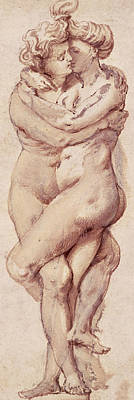 Pauls Drawing - Embracing Couple by Rubens