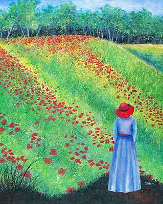Poppies Field Painting - Embracing The Moment by Susan DeLain