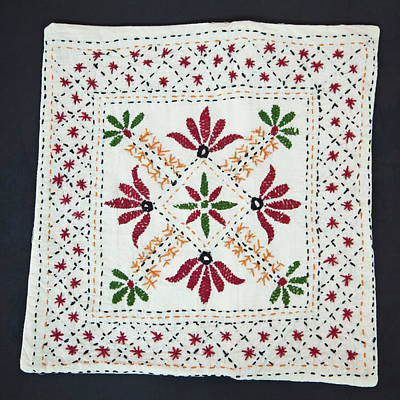 Embroidered Photograph - Embroidered Pillow Case, Dehradun, India by Charles O. Cecil