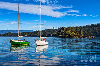 Emerald Bay Boats Print by Jamie Pham