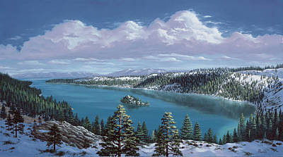 Pine Trees Painting - Emerald Bay - Lake Tahoe by Del Malonee