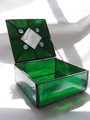 Emerald Green Stained Glass Jewelry Keepsake Box Print by Wendy Wehe-Ballone