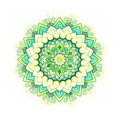 Visionary Art Drawing - Emerald Lotus Mandala by Timea Varga