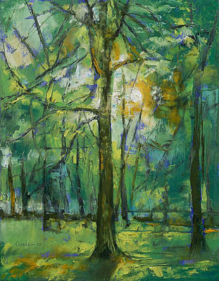 Arbres Painting - Emerald Twilight by Michael Creese