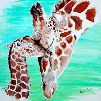 Mother And Baby Giraffe Painting - Emery by Kelci Pauk
