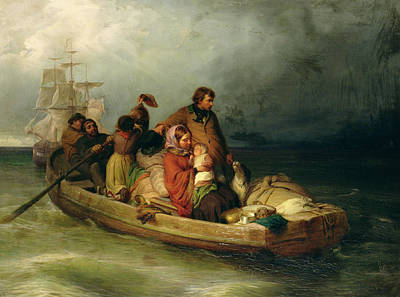 Dinghy Photograph - Emigrant Passengers On Board, 1851 Oil On Canvas by Felix Schlesinger