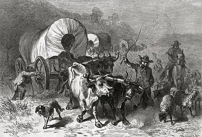 Cattle Dog Photograph - Emigration To The Western Country, Engraved By Bobbett Engraving Bw Photo by Felix Octavius Carr Darley