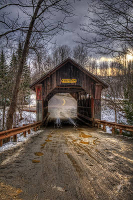 Winter In New England Photograph - Emily's Bridge - Stowe Vermont by Joann Vitali