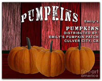 Emilys Pumpkin Patch Print by Marvin Blaine