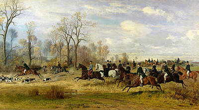Hunters Painting - Emperor Franz Joseph I Of Austria Hunting To Hounds With The Countess Larisch In Silesia by Emil Adam