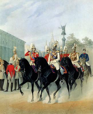 Emperor Nicholas I And Grand Duke Alexander In St Petersburg Print by Karl Karlovich Piratsky