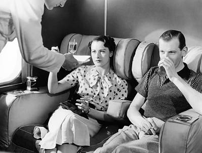 Airways Photograph - Empire Flying Boat Lounge by Underwood Archives