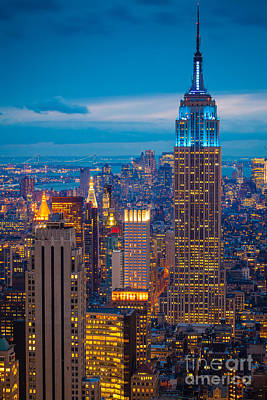 City Center Photograph - Empire State Blue Night by Inge Johnsson
