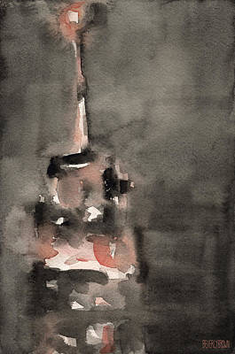 Home Painting - Empire State Building Coral And Black Watercolor Paintings Of Nyc by Beverly Brown