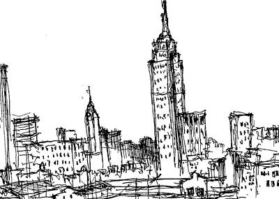 Empire State Building Drawing - Empire State Building  by Jason Nicholas
