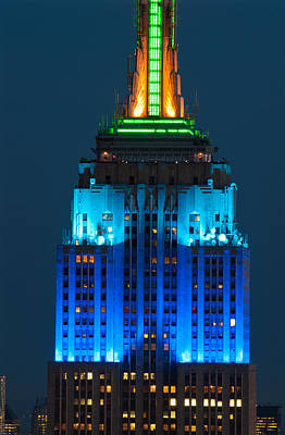 Empire State Photograph - Empire State Building Lit Up At Night by Panoramic Images
