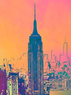 Tourist Attraction Mixed Media - Empire State Building Pop Art by Dan Sproul