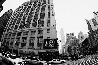 Empire State Building Shrouded In Mist As Yellow Cabs Crossing Crosswalk On 7th Ave And 34th Street Print by Joe Fox